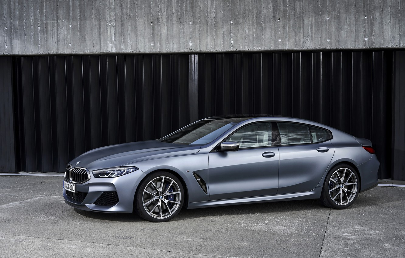 Photo wallpaper coupe, BMW, Parking, Gran Coupe, 8-Series, 2019, the four-door coupe, Eight, G16, steel gray