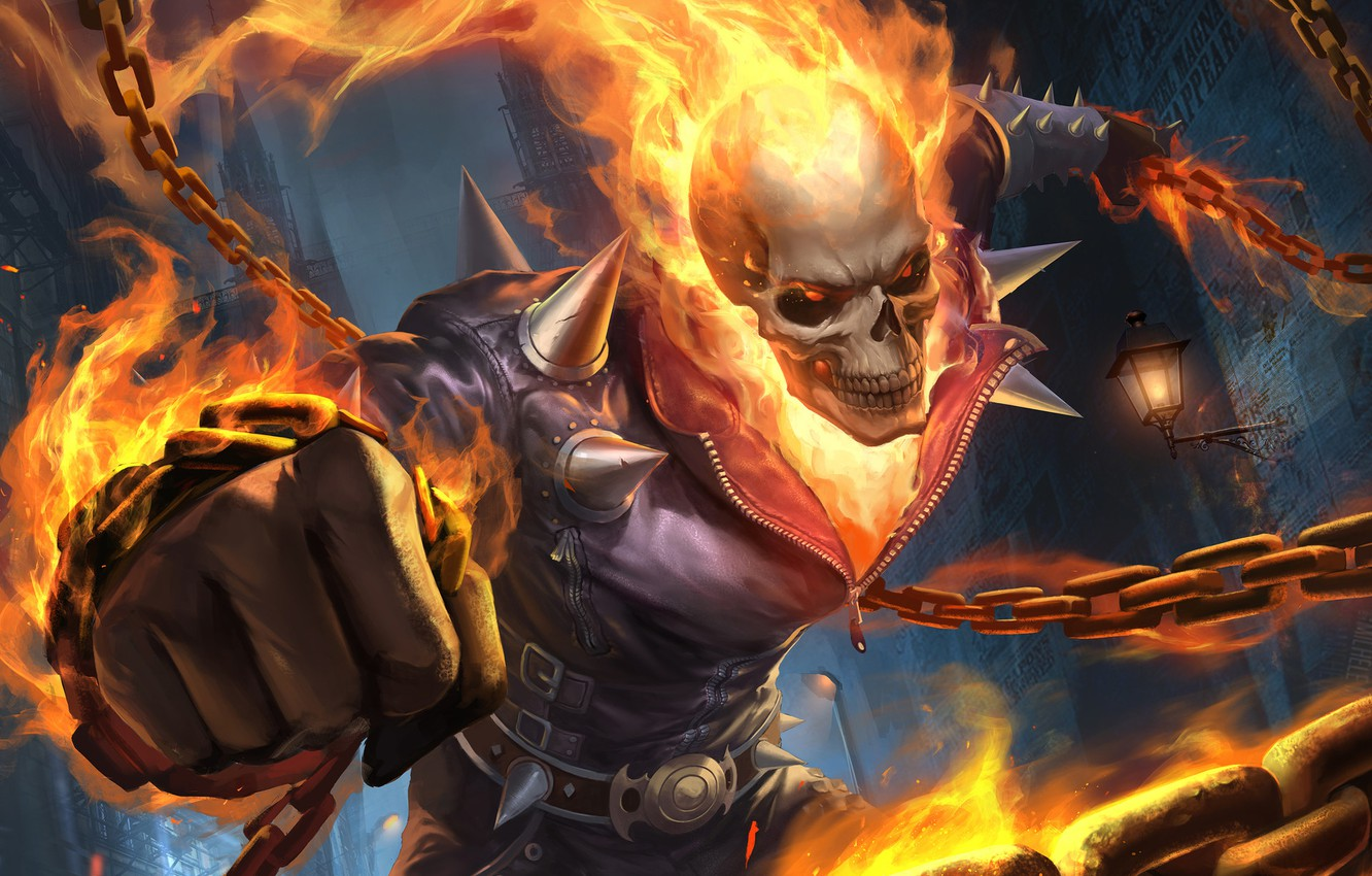 Photo wallpaper Skull, Fire, Chain, Background, Ghost Rider, Ghost rider, Flame, Art, Ghost, Illustration, Characters, by Gary …