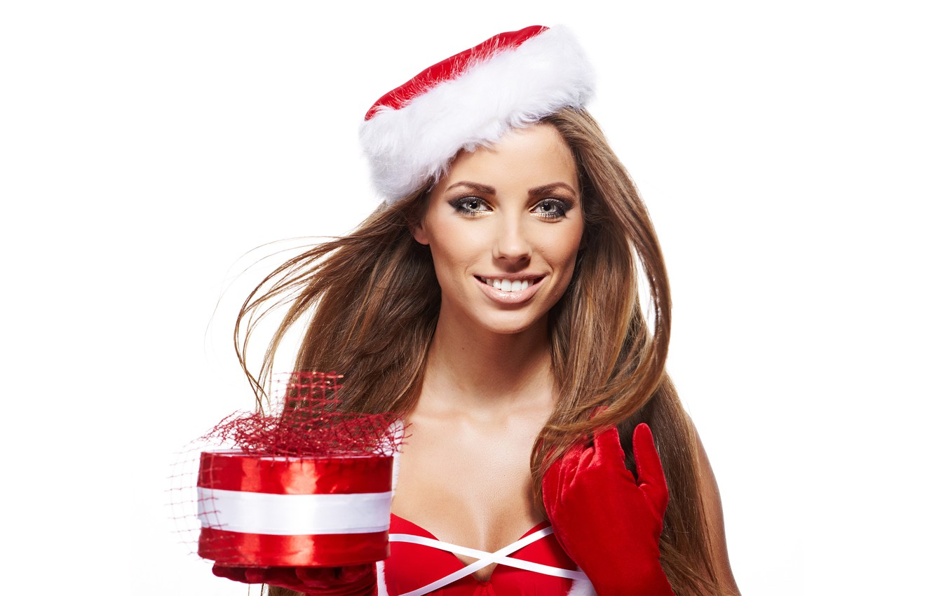Photo wallpaper smile, holiday, box, gift, hat, new year, portrait, Christmas, makeup, dress, hairstyle, white background, gloves, …