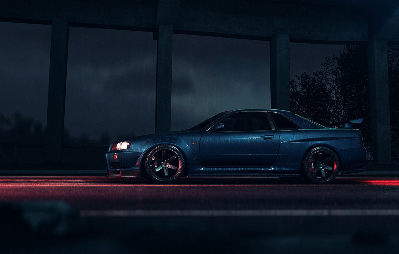 Photo wallpaper Auto, Machine, Nissan, NFS, Need for Speed, Skyline, Nissan Skyline, R34, Rendering, Side view, Game …