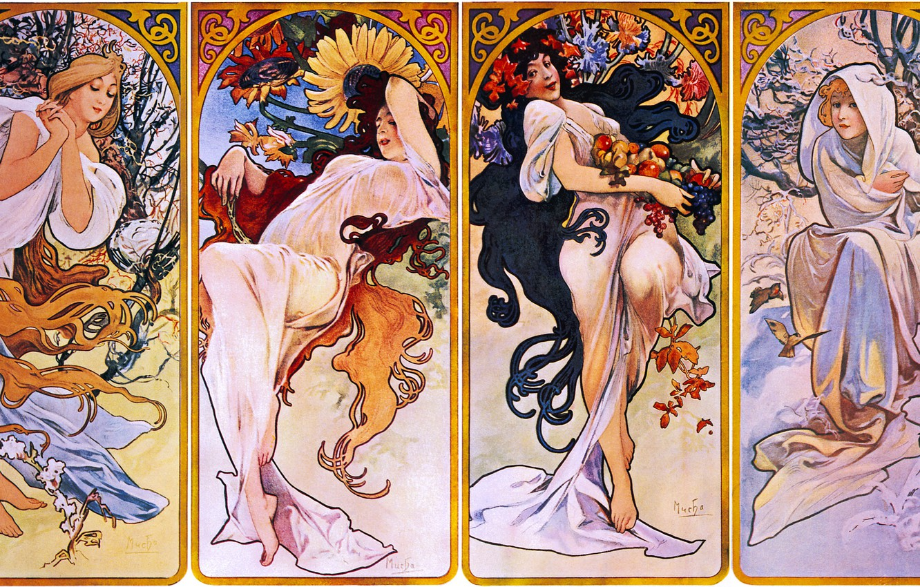 Photo wallpaper winter, autumn, summer, seasons, spring, 1895, Alphonse Mucha, Seasons