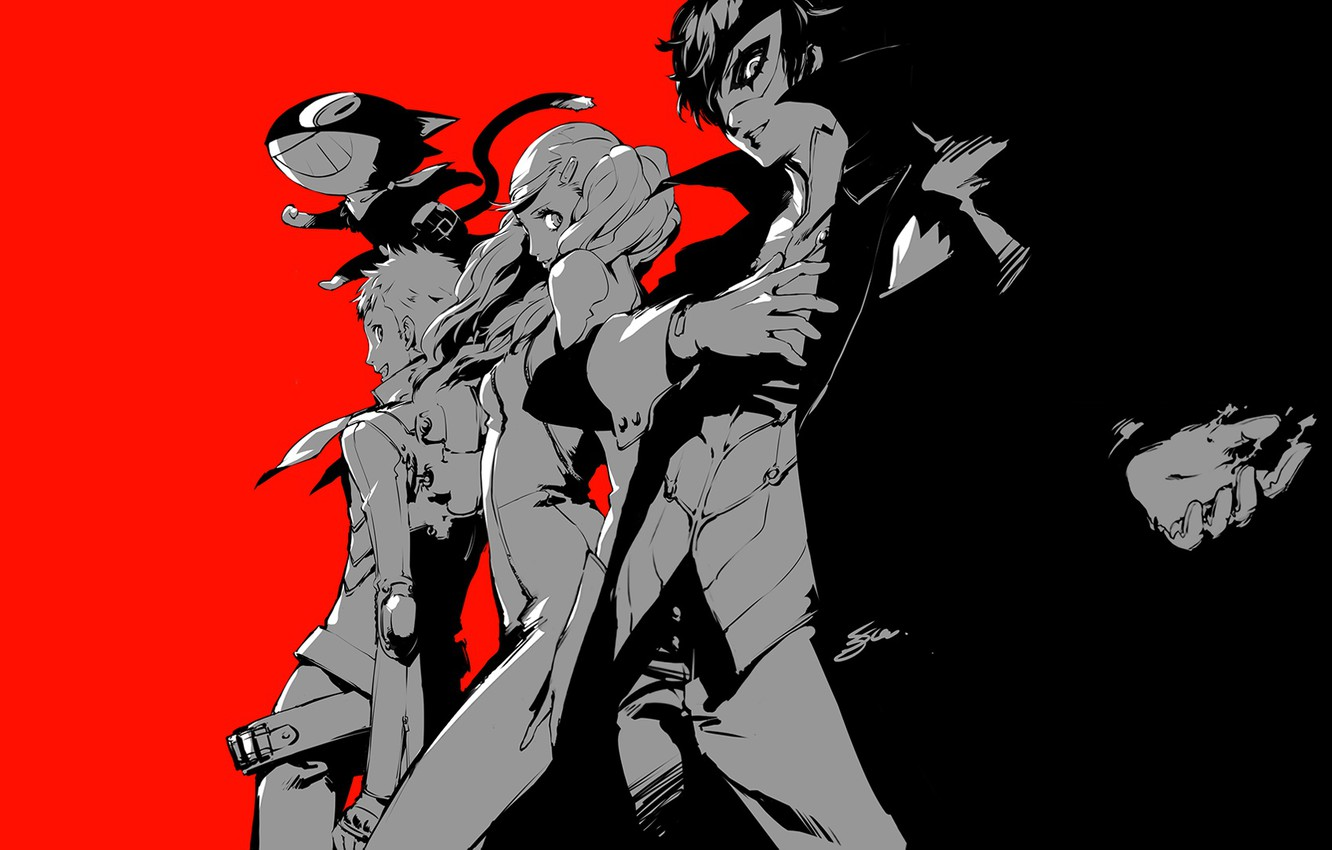 Wallpaper Red Black The Game Anime Art Characters Person