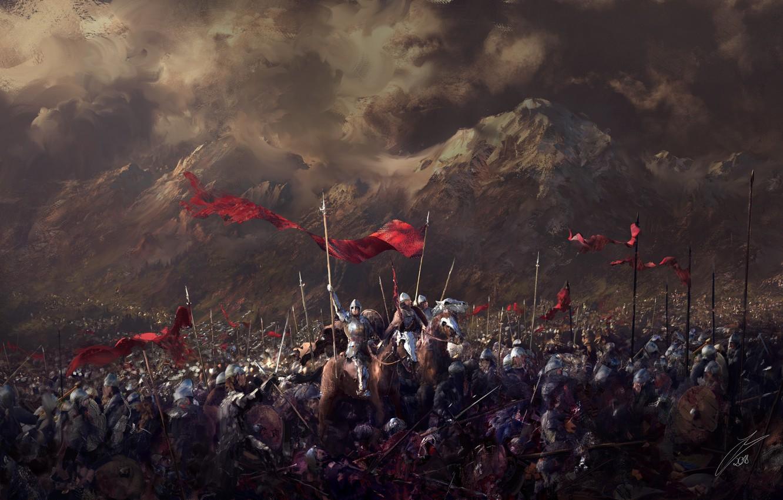Photo wallpaper mountains, warriors, Battlefield, army, banners