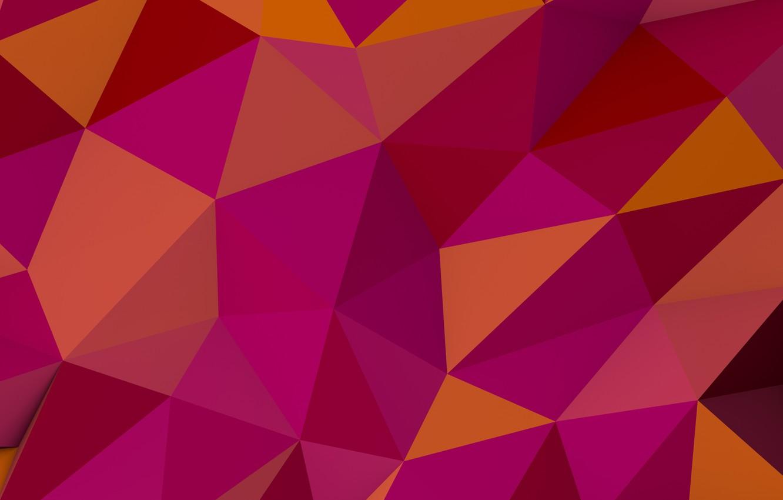 Photo wallpaper background, triangles, corners, pink, background, pattern, orange, polyhedra, polygon