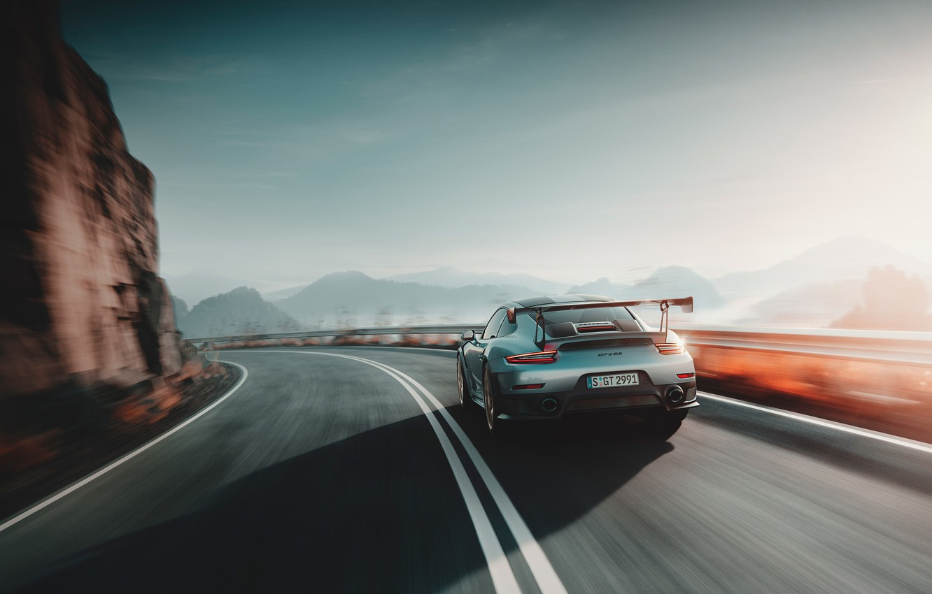 Photo wallpaper speed, 911, Porsche, rear view, 2018, GT2 RS