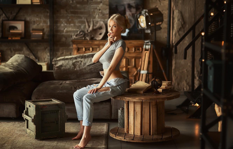 Photo wallpaper look, girl, blonde, Katerina Shiryaeva, Anastasia Barmina