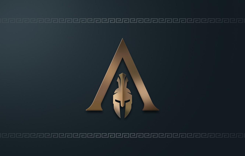 Photo wallpaper logo, game, minimalism, Ubisoft, Assassin's Creed, digital art, simple background, Assassin's Creed Odyssey