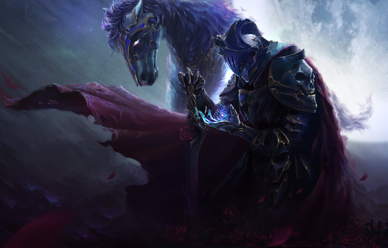 Wallpaper Animal Horse Magic Skull Sword Armor Fantasy Art Rider Images For Desktop Section Fantastika Download
