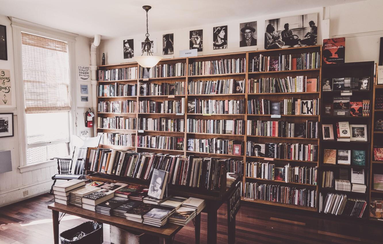 Photo wallpaper books, window, shelf, library, portraits, patrick brinksma
