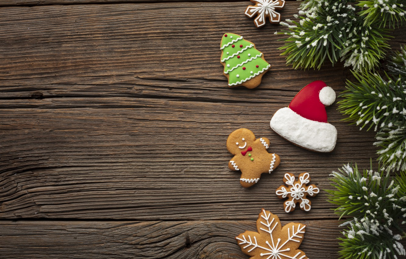 Wallpaper cookies, Christmas, sweets, New year, tree, Happy