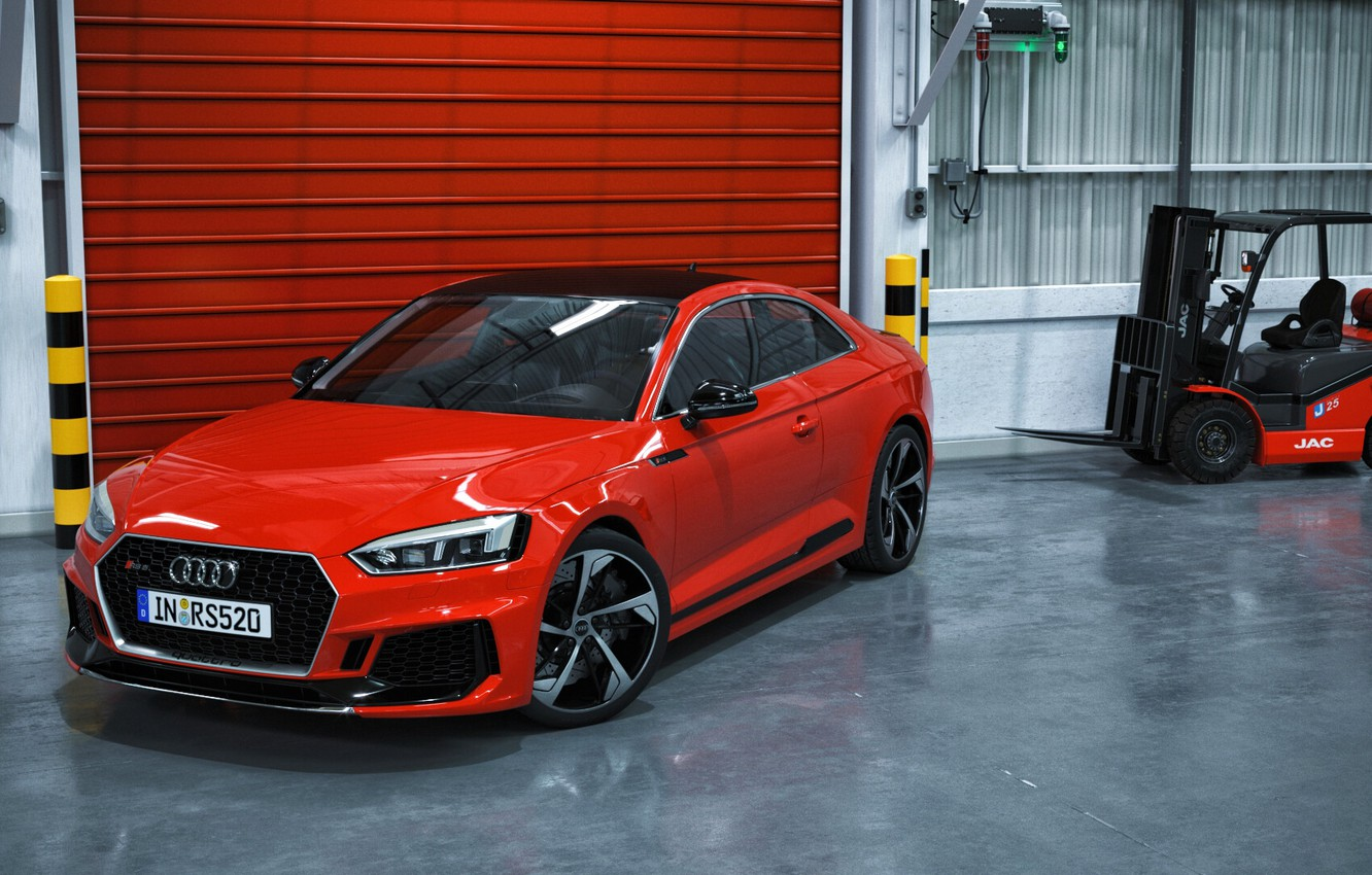 Photo wallpaper Audi, Red, Auto, Machine, Auto, Render, RS5, Rendering, Audi RS5, Transport & Vehicles, by Russ …