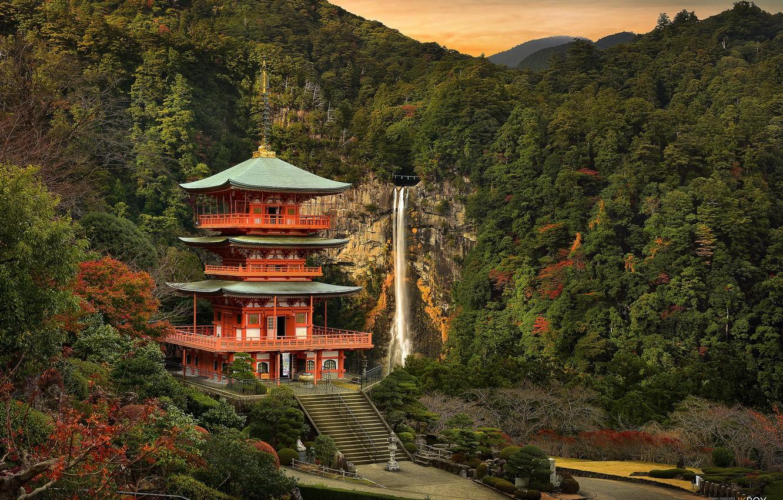 Photo wallpaper landscape, castle, waterfall, Japan
