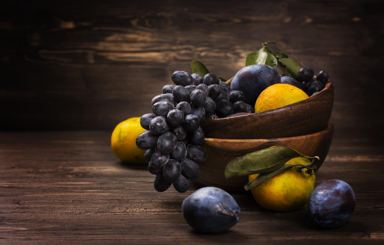 Photo wallpaper grapes, fruit, drain