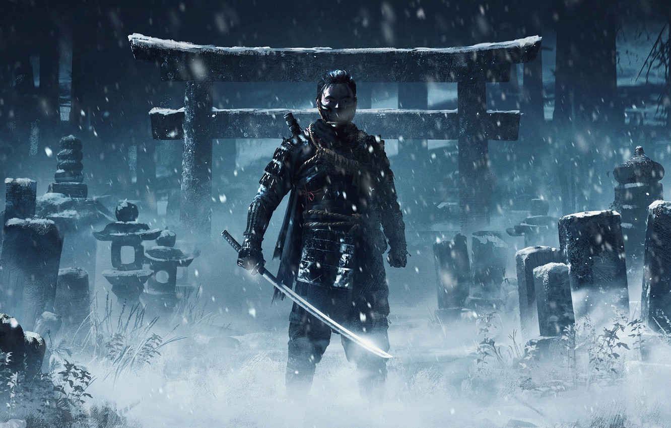 Photo wallpaper PlayStation 4, Sucker Punch Productions, Jin, Sony Interactive Entertainment, Ghost of Tsushima