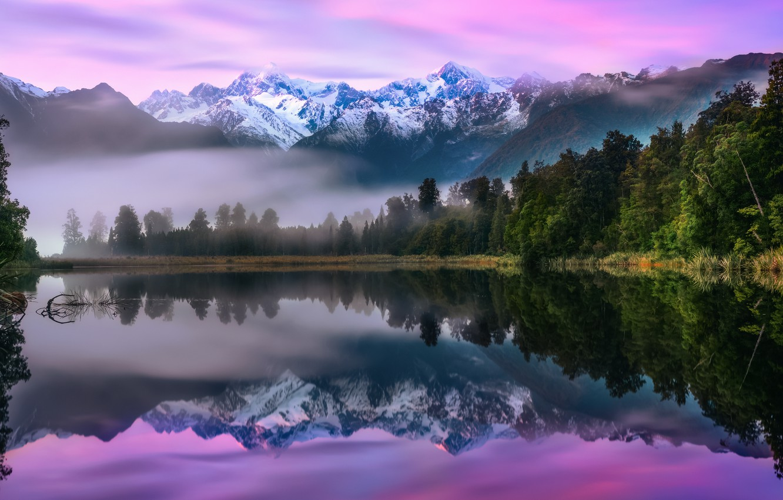 Photo wallpaper forest, mountains, fog, lake, New Zealand, South island, National Park Westland, Lake Matheson, Southern Alps, …