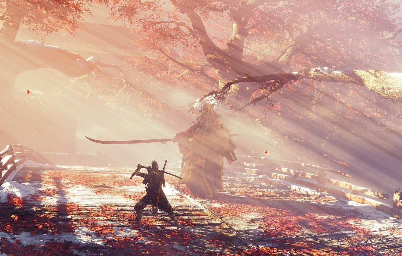 Photo wallpaper leaves, fog, the game, Japan, wolf, sword, sword, art, action, prosthesis, the fight, wolf, samurai, …