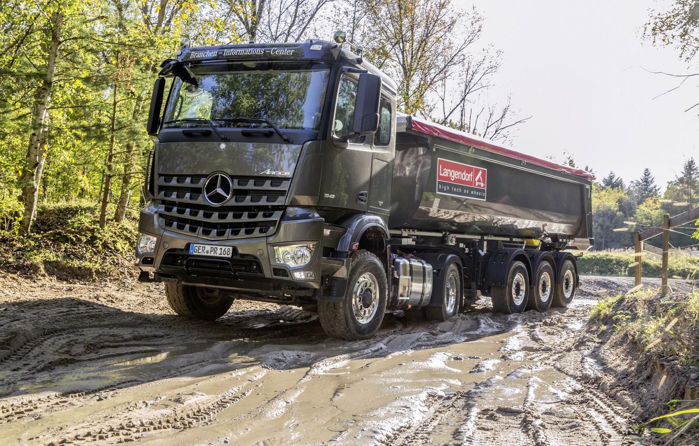 Photo wallpaper Mercedes-Benz, dirt, tractor, dump truck, 4x2, Arocs, the trailer