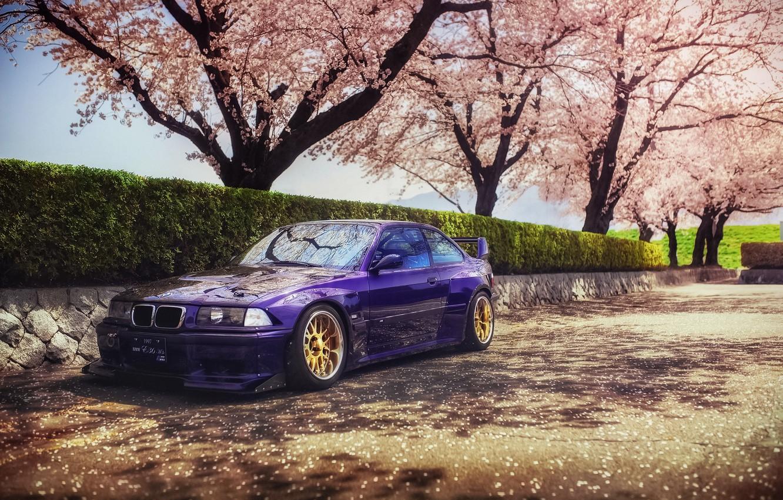 Photo wallpaper spring, Japan, Sakura, BMW, speedhunters, E36, Rocket Bunny, M3