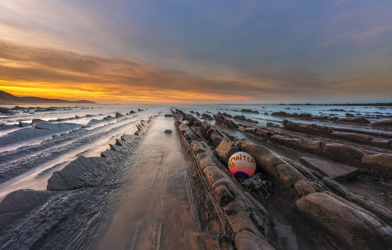 Photo wallpaper sea, sunset, rocks, shore