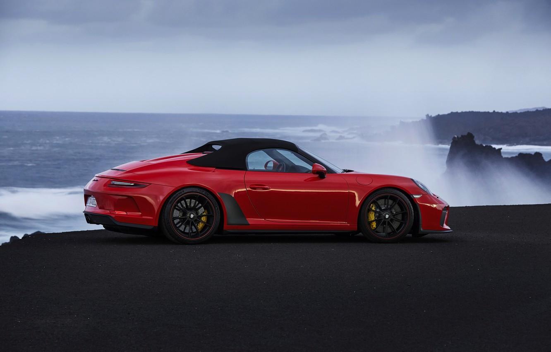 Photo wallpaper red, shore, 911, Porsche, Speedster, 991, the soft top, 2019, 991.2