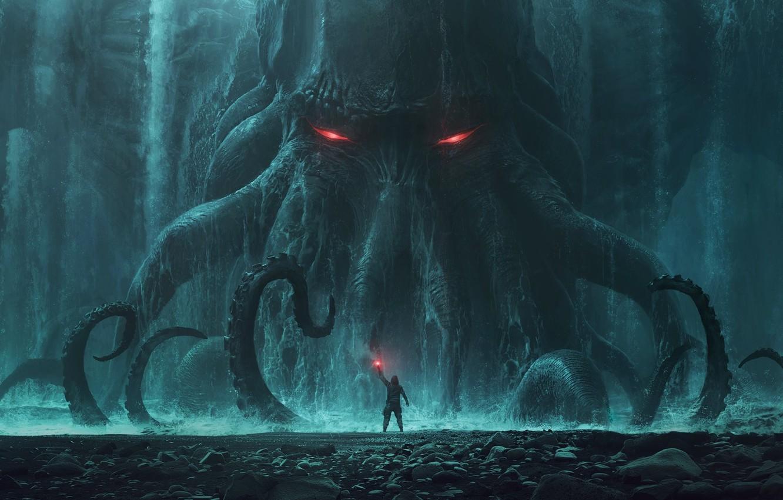 Photo wallpaper Cthulhu, Cthulhu, monster, rocks, man, behemoth, tide, tentacles, Andree Wallin, signal light