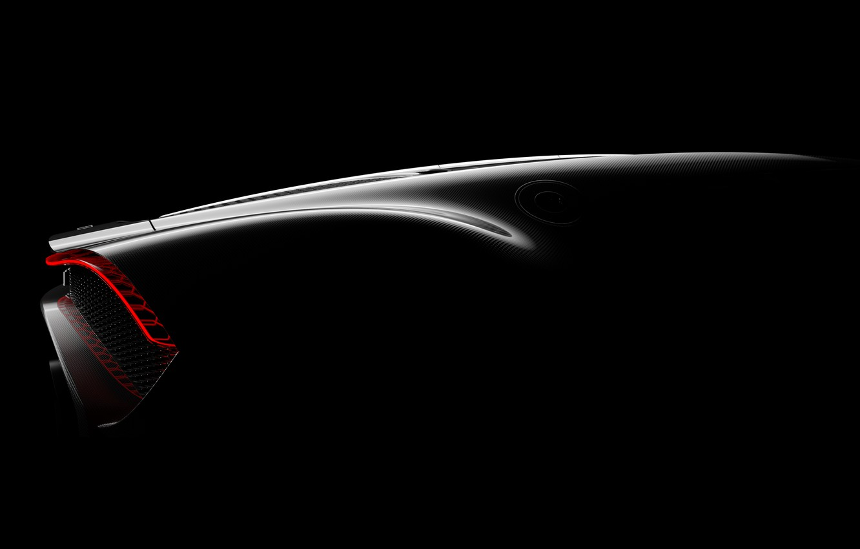Photo wallpaper Bugatti, the rear part, hypercar, 2019, The Black Car