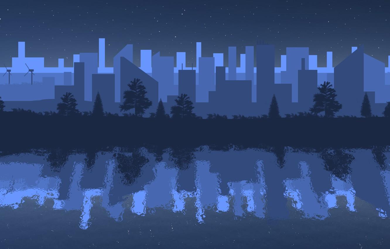 Photo wallpaper night, the city, reflection, river, minimalism, night city
