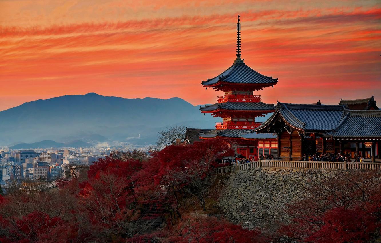 Photo wallpaper autumn, Japan, temple, Kyoto