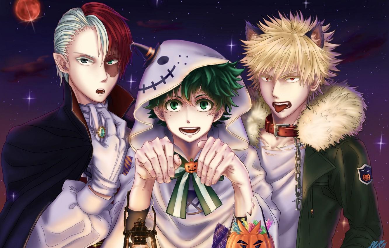 Photo wallpaper art, guys, Halloween, Boku No Hero Academy, My Hero Academy