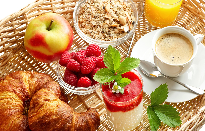 Photo wallpaper raspberry, coffee, Apple, juice, croissants, muesli