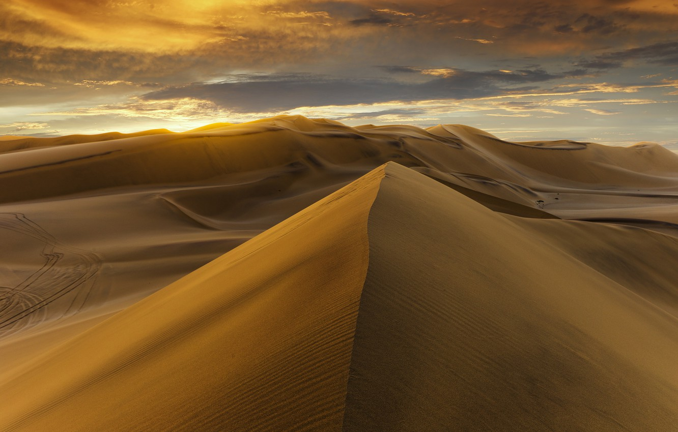 Photo wallpaper desert, sunset, sand