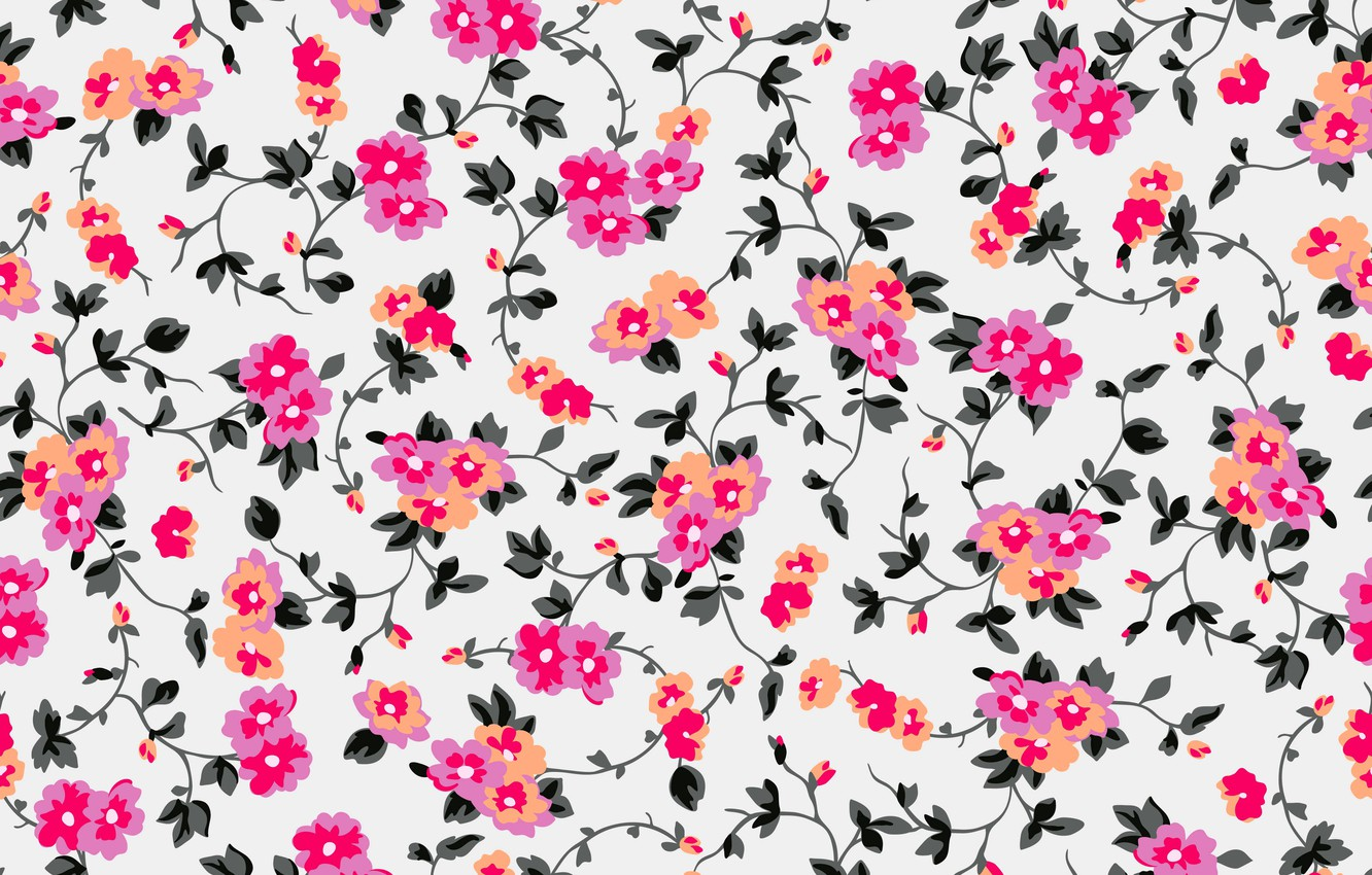 Photo wallpaper background, figure, colorful, ornament, pink, flowers, floral, background, pattern, floral