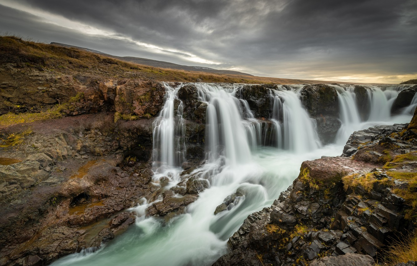 Photo wallpaper river, waterfall, Nature, Iceland