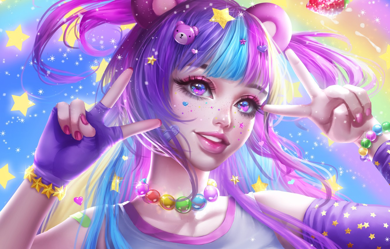 Photo wallpaper look, girl, stars, decoration, mood, art, beads, bracelet, gesture, ears, tails