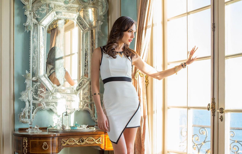 Photo wallpaper girl, pose, portrait, figure, dress, mirror, window, beautiful, Gal Gadot