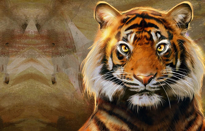 Photo wallpaper strips, tiger, predator, art, big cat, Raaawwr, Nic Hon