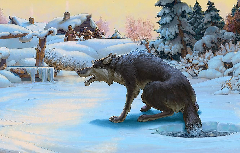 Photo wallpaper winter, wolf, tale, Figure, the hole