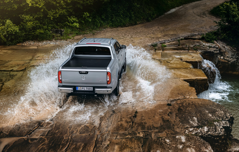 Photo wallpaper water, river, stones, Mercedes-Benz, top, pickup, 2018, X-Class, gray-silver