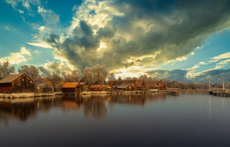 Photo wallpaper Sky, Lake, Diessen am Ammersee