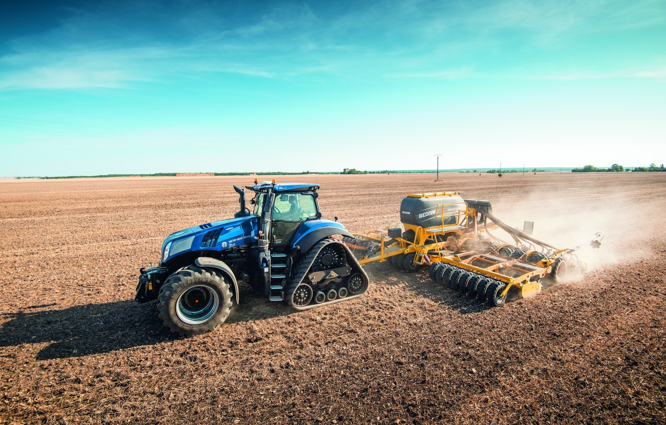 Photo wallpaper field, the sky, blue, dust, tractor, cabin, caterpillar, works, wheel, sowing, agricultural machinery, seeder, New …