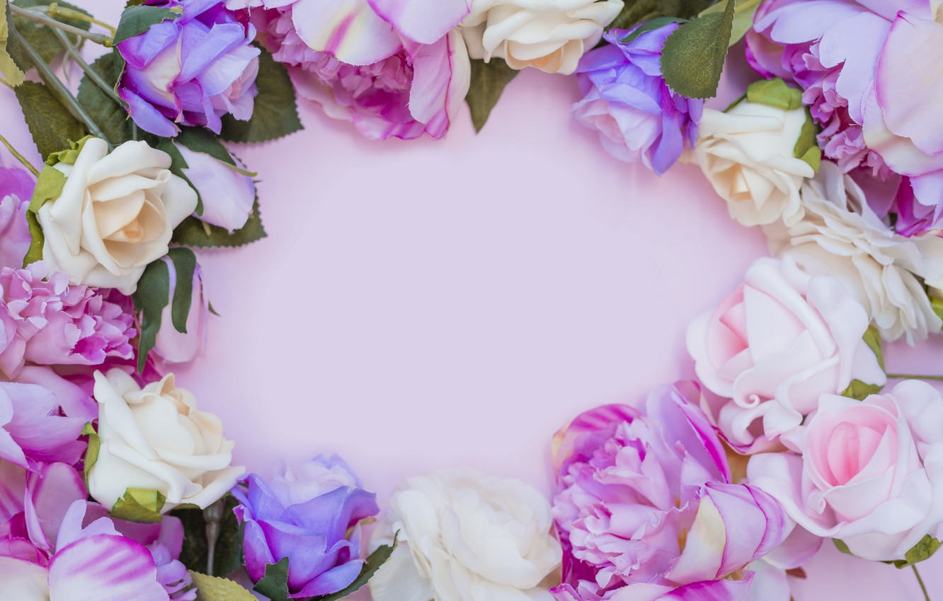 Photo wallpaper flowers, background, roses, pink, buds, pink, flowers, background, roses