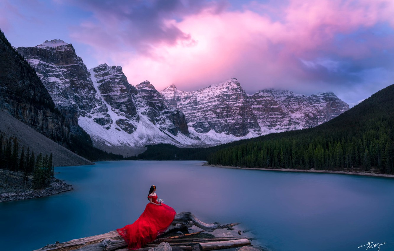 Photo wallpaper forest, the sky, girl, mountains, lake, dress