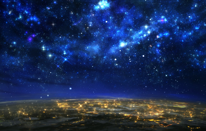 Photo wallpaper the sky, stars, lights, earth