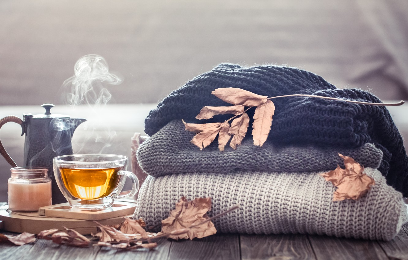 Photo wallpaper autumn, leaves, wool, autumn, leaves, sweater, Cup of tea, tea cup