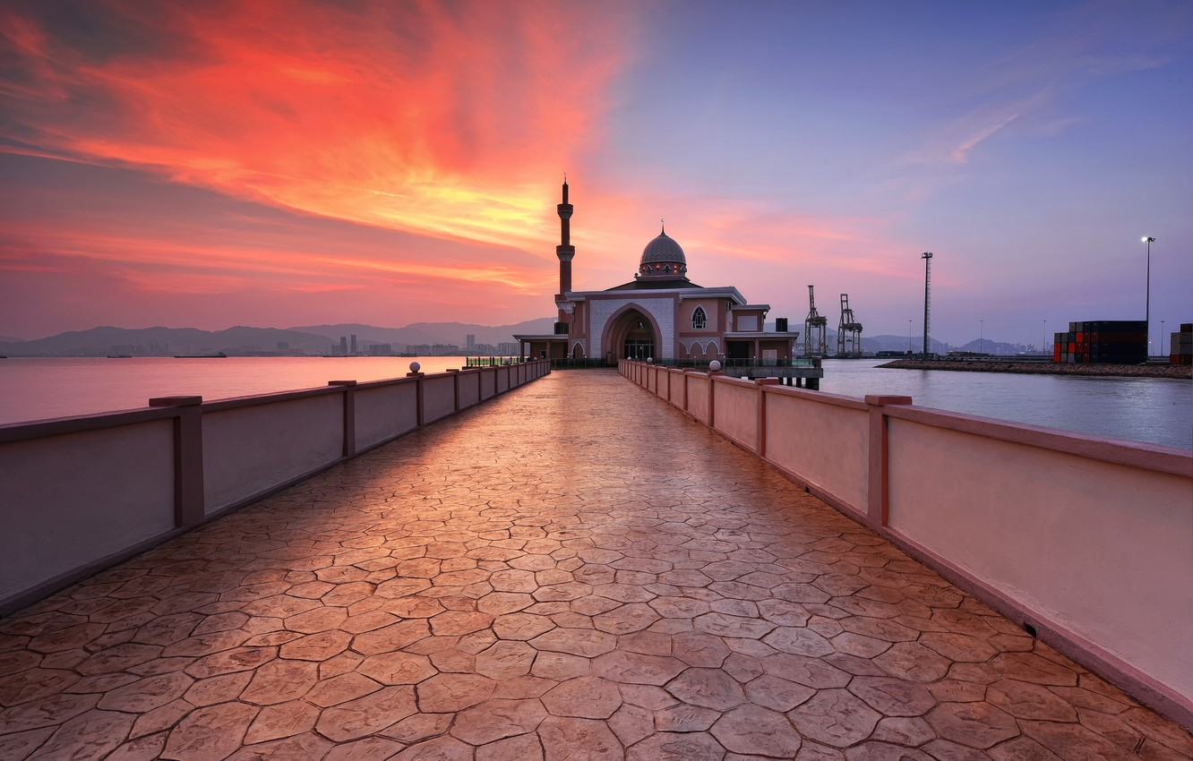 Photo wallpaper sunset, Penang, malaysia, Port Mosque