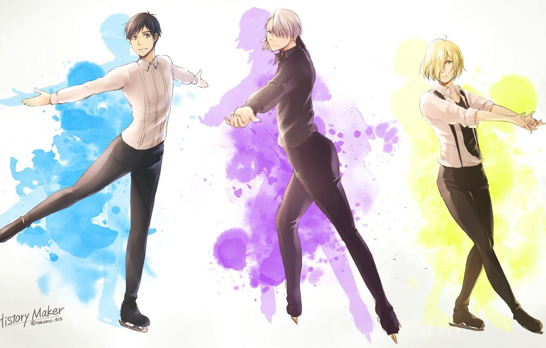 Photo wallpaper anime, art, guys, Yuri on Ice, Yuri on the ice, Viktor Nikiforov, Yuri Plisetsky, Yuri …