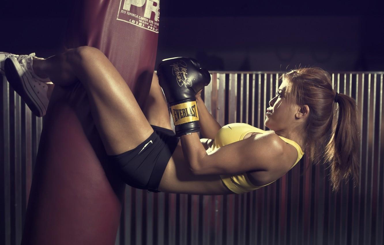 Photo wallpaper sport, girl, gym, sack, Boxing, sportswear, boxing gloves, short shorts, sports bra