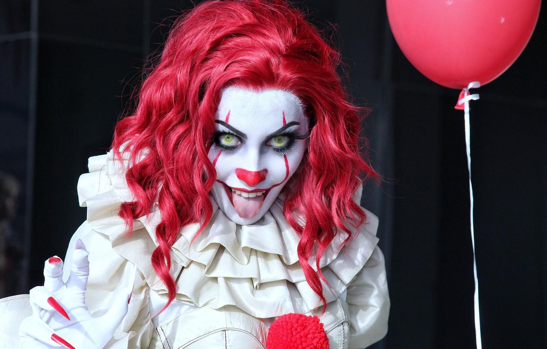 Photo wallpaper language, girl, clown, horror, Stephen king, it, pennywise