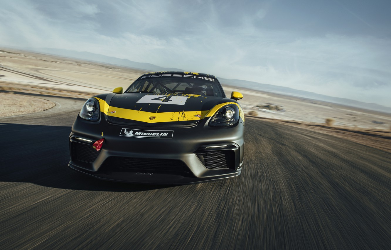 Photo wallpaper coupe, Porsche, Cayman, front view, track, 718, 2019, black-yellow, GT4 Clubsport