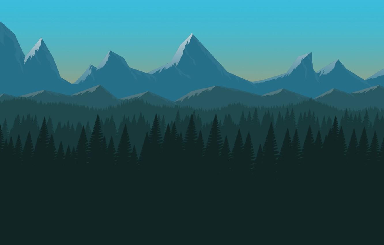 Wallpaper Minimalism Mountains Forest Hills Landscape Art